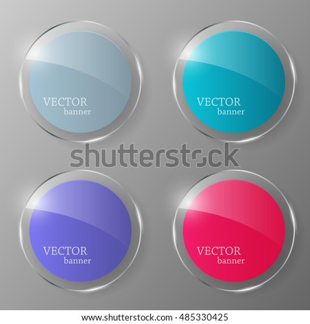 Glass banner set. Glass button.Vector illustration.