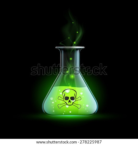 Glass beaker with a poisonous liquid. Vector Image. Foto stock ©