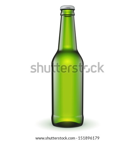 glass beer green bottle on