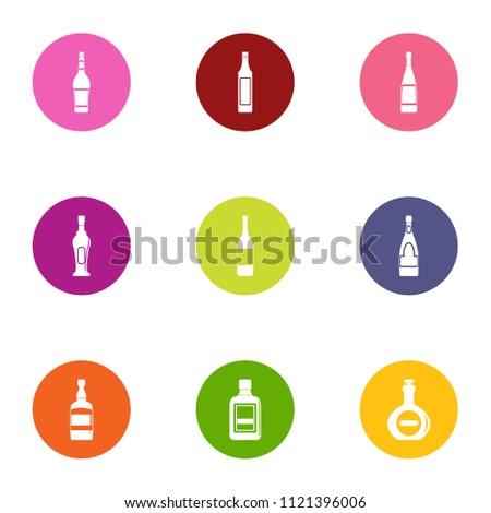 glass bottle icons set flat