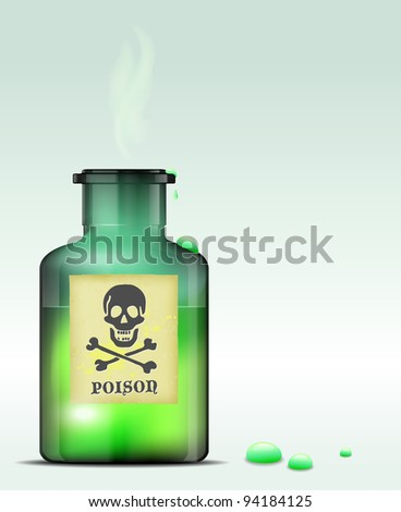 glass bottle of poison vector