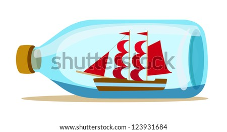 glass bottle with ship inside