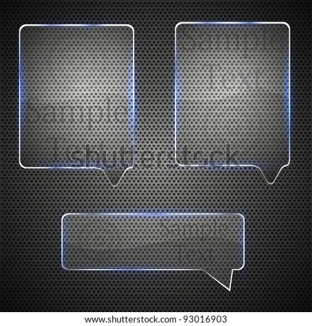 glass bubble speech on metal grid. vector illustration