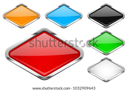 Glass buttons with chrome frame. Colored set of shiny rhombus shaped 3d web icons. Vector illustration isolated on white background