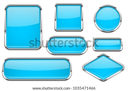 Glass buttons with chrome frame. Set of blue shiny 3d web icons. Vector illustration isolated on white background