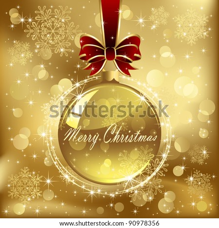 Glass Christmas bauble with bow and ribbon, stars and blurry light, illustration