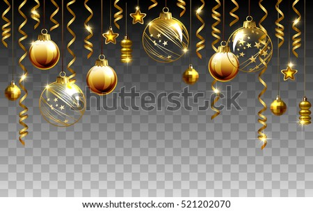 Glass Christmas Evening Balls On A Transparent Background New Year Gold Decorations With Garlands