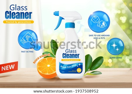 Glass cleaner ad template in 3d illustration. Product package mock up design with bright fresh orange and bubble icons.