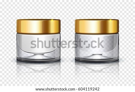 Glass cosmetic jar with golden lid isolated on transparent background. Vector illustration