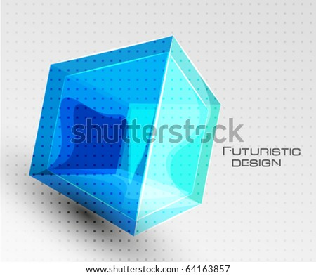 glass cube composition vector