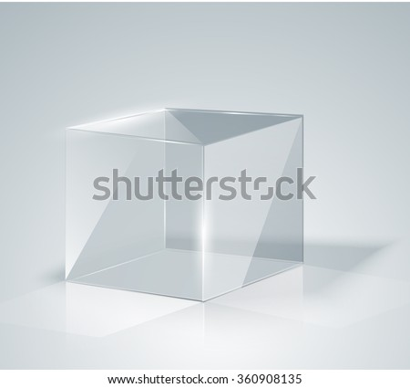 Glass Cube. Transparent Cube. Isolated. Template glass. Exhibition. Presentation of a new product. Realistic 3D design. Vector illustration