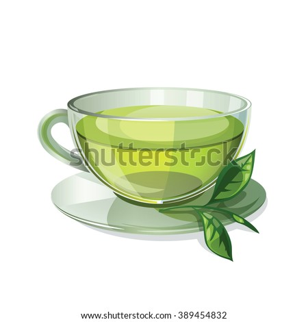 glass cup with green tea