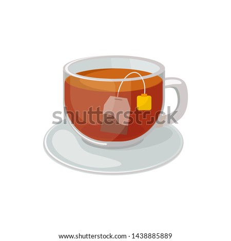 Glass cup with saucer with black tea and tea bag  inside vector illustration isolated on white background. Hot black tea vector