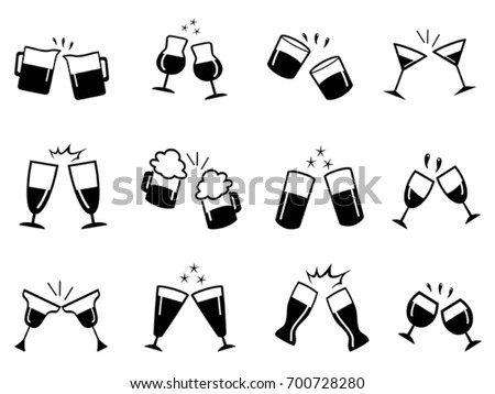 glass cups cheers icons set