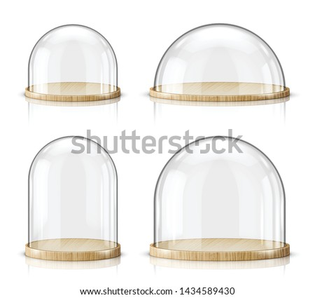Glass dome and wooden tray realistic vector. Glass round dome of various shapes with light wood plate, food storage container or product presentation case with reflection, isolated on white background
