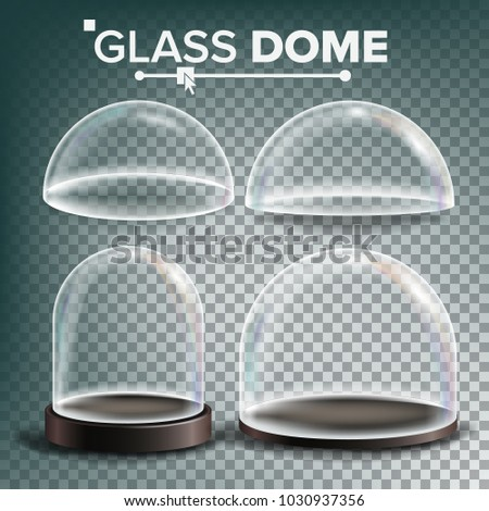 Glass Dome Set Vector. Advertising, Presentation Design Glass Element. Different Types. Empty Glass Crystal Dome. Template Mockup. Isolated Transparent Illustration