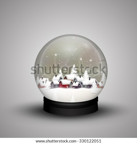 glass dome winter in wooden