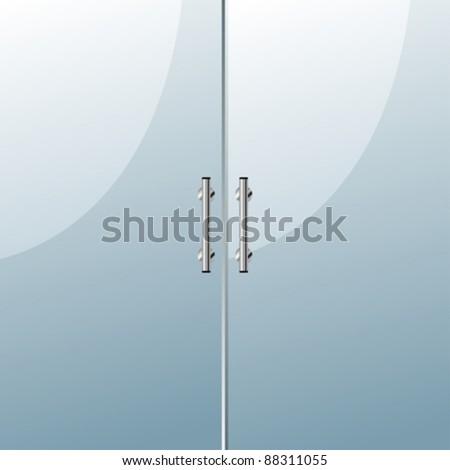 Glass door with chrome silver handles set - stock vector