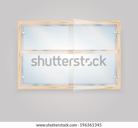 glass door wood storage cabinet