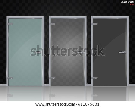 Glass Doors Isolated On Transparent Background Mock Up Entrance