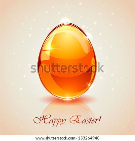 Glass Easter egg on pink background, illustration.