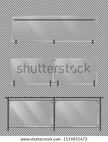 Glass fence sections set with metallic tube handrails and transparent plexiglass sheets for house stairways, building balcony or terrace, roadside fencing isolated 3d realistic vector illustrations
