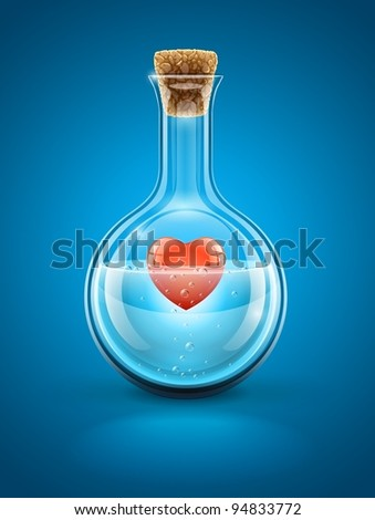 glass flask bottle with red