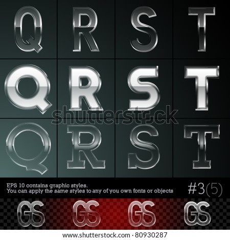 Glass font font plus graphic styles. Set #3. File contains graphic styles available in the Illustrator 10 + You can apply the styles to any of you own fonts or objects
