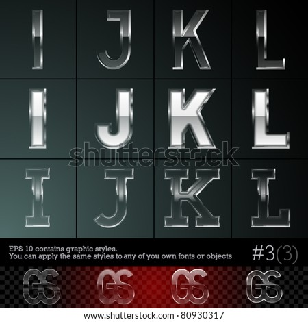 Glass font font plus graphic styles. Set #3. File contains graphic styles available in the Illustrator 10 + You can apply the styles to any of you own fonts or objects - stock vector