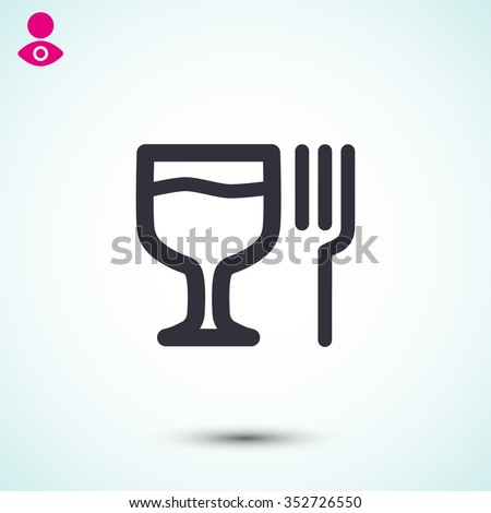 glass fork sausage vector icon