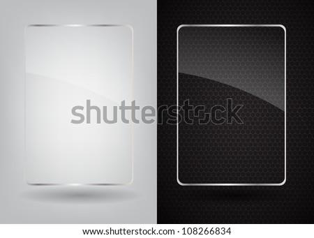 glass frame on abstract metal
