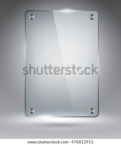 Glass frame on grey, vector illustration template for advertising