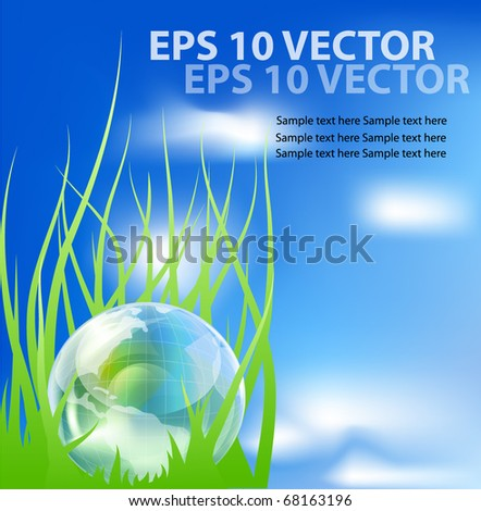 Glass globe in fresh green grass. EPS10 vector illustration.