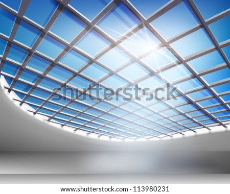glass hall vector illustration
