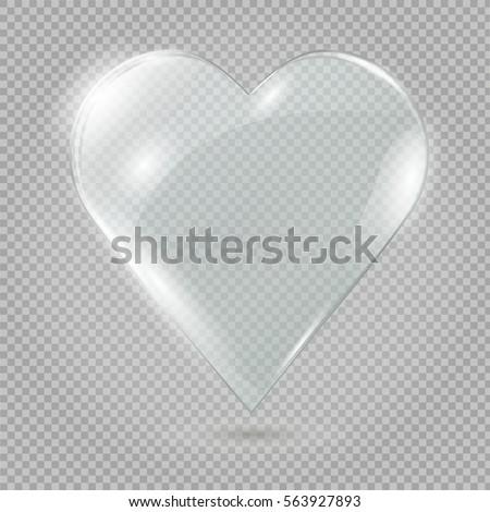 glass heart on a transparent