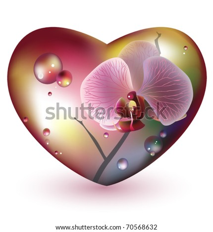 Glass heart with orchid flower. Vector. EPS 10