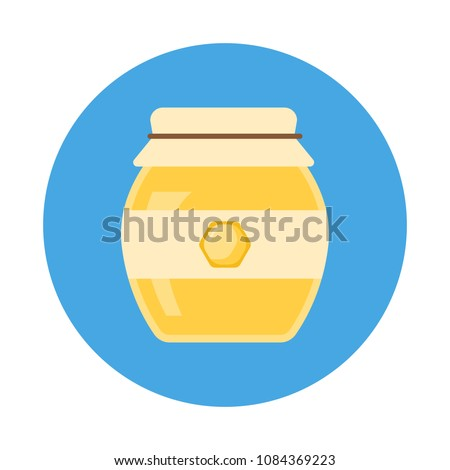 Glass jar of Honey flat icon with long shadow isolated on blue background. Simple Honey in flat style, vector illustration for web and mobile design.