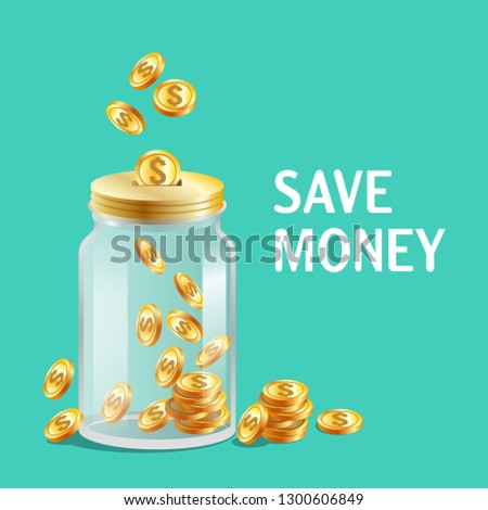Glass jar with cap, moneybox icon, bright gold coins, keeping, saving money concept, vector illustration
