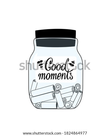 Glass jar with memories notes illustration. Collect moments. Positive thinking and mindfulness. Keeping good memories to support yourself. Good for cards, poster, article, sticker. Stockfoto ©