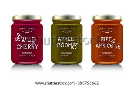 Glass jar with with jam, configure or honey. Vector illustration. Packaging collection. Label for jam with apple, apricot, cherry. Bank realistic. Mock up  mason jar with design label or badges