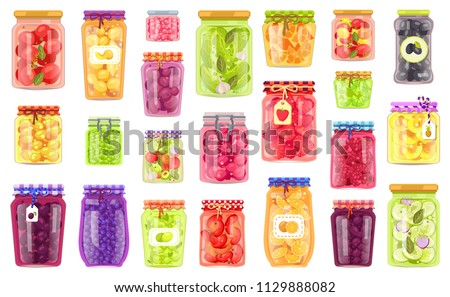 Glass jars collection with preserved food poster isolated on bright backdrop, vector illustration of canned fruits and vegetables, healthy meal set