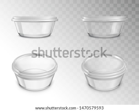 Glass jars set, empty open containers for canning with thread for cap in different positions, package for preserving food, products isolated on transparent background. Realistic 3d vector illustration