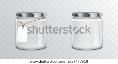 Glass jars with metallic screw libs isolated on transparent background. Vector mockup with realistic empty mason with tag for storage food products, sweets and preserves Stockfoto ©