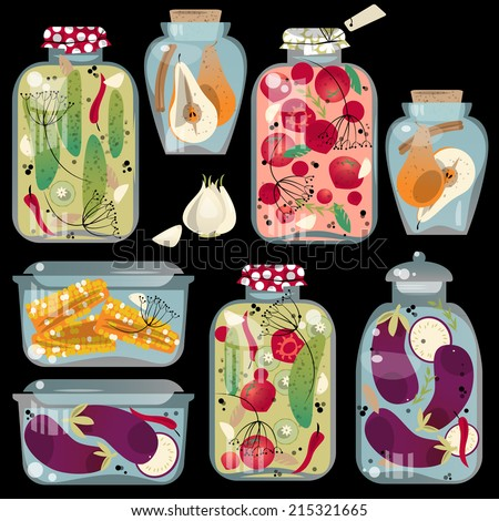 Glass jars with preserved vegetables. Vector illustration - stock vector