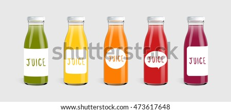 glass juice bottle with label
