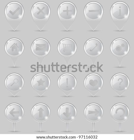 Glass map markers with icons, vector eps10 illustration