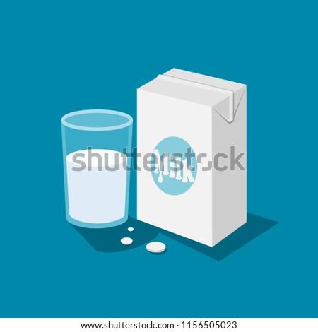 Glass milk icons vector.