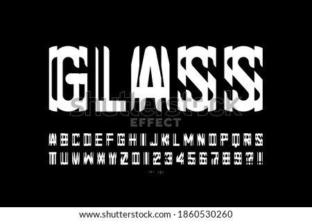 Glass mirror style modern font design, alphabet and numbers vector illustration Stock fotó ©