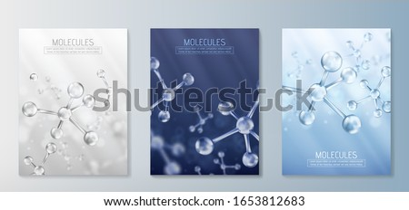 Glass molecules model. Reflective and refractive abstract molecular shape. Vector illustration