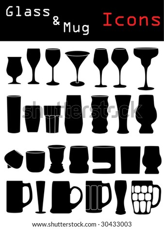 Glass & Mug Icons - stock vector